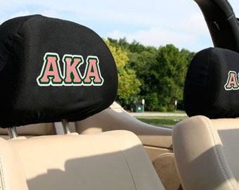 Alpha Kappa Alpha Sorority Auto SUV Head Rest Covers
