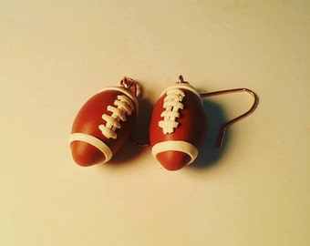 football earrings polymer clay - sports - brown white laces - super bowl