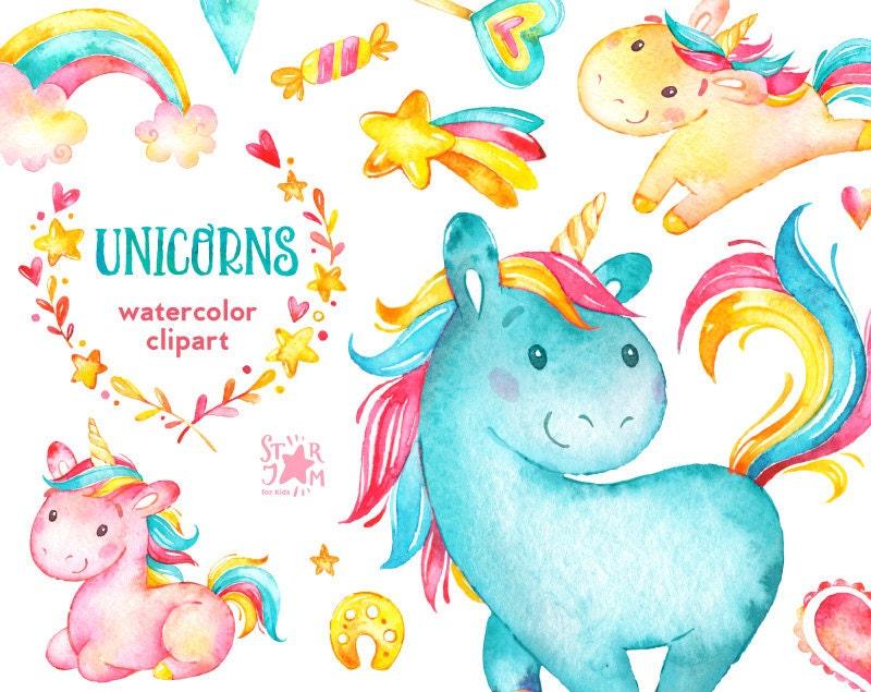 Unicorns. Watercolor clip art, rainbow, hearts, flowers ...