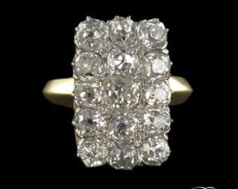 19th century 19th Platinum 18K yellow gold ring