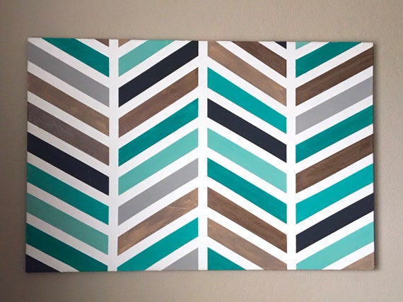 Items Similar To Herringbone Painting Original Wall Art