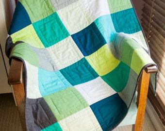 Squares sea-scape baby quilt