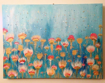 Spring Flower Field, 18in by 24in - 2.5in deep - acrylic, beads and thread