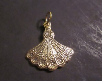 High polish brass oriental fan charm or pendant
