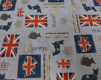 """Blue """"The Queen"""" Queen Elizabeth, British Flag 100% Cotton Fabric. Price Per Metre."""