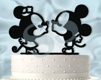 mickey and minnie kissing wedding cake topper