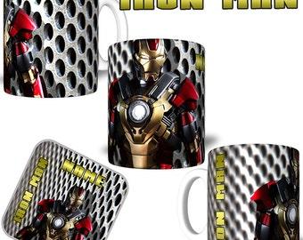 IRON MAN Your Name Personalised Sublimation Printed Mug & Coaster
