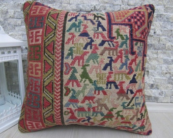 Turkish Kilim embroidery pillow 16 x 16 Very old  Turkish kilim pillow Embroidery kilim Cushion cover Decorative throw pillow