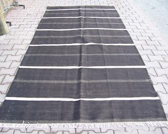 4'8''x 10'' (148x314cm) handwoven vintage black and white striped Turkish kilim rug, decorative modern Turkish kilim,