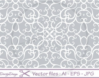 Floral Vector File Damask, Seamless Pattern, Instant Download, Floral Digital Vector Files, Damask Background, SVG file, EPS file, png file