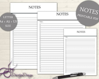 Planner Page NOTES, Printables Notes, INSTANT Download, Printable Notes, Digital Planner, Stuff to do list, Note Cards, Inserts A5