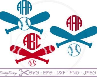Baseball SVG Monogram Frame for cutting machines, SVG files Baseball, Vinyl cut files, cricut, svg monogram frame, svg baseball monogram