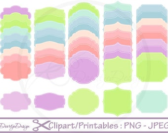 Clipart Stitched Labels Set Tag, Clipart Frames, Clip Art set Labels, Frames, Stitched Labels, Scrapbook Labels, Digital Clipart Labels,