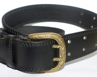 Belt classical leather with two needles