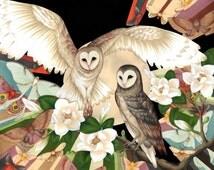 Owl + Moth Art Print - Wall Art, Original Size Art Print, Art Poster, Owl Print, Moth Print, Floral Art, Drawing, Original Art