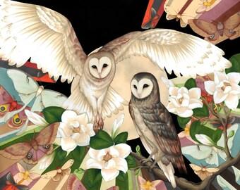 Owl Moon- Crystal Gardens Original Size Art Print