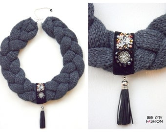 Grey Knitted Necklace With Flower Decoration.