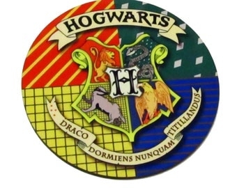 Harry Potter Hogwarts coaster, Hogwarts School of Witchcraft and Wizardry cork coaster, Logo Hogwarts School, Hogwarts Themed Cork Coaster