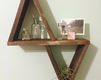Triangle Wall Shelf Made From Reclaimed Wood