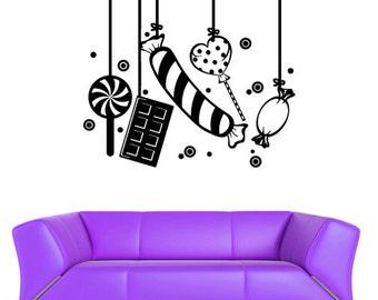 rvz583 Wall Vinyl Sticker Bedroom Decal Modern Sweets Candy Confection