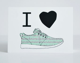 I love sneakers postcard - Sneaker illustration