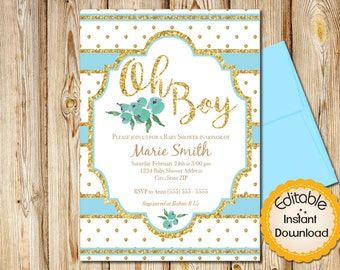"Baby Shower Invitation, Shabby Chic Boho Blue and Gold, Boy, INSTANT download, EDITABLE in Adobe Reader, DIY,Printable, 5""x7"""