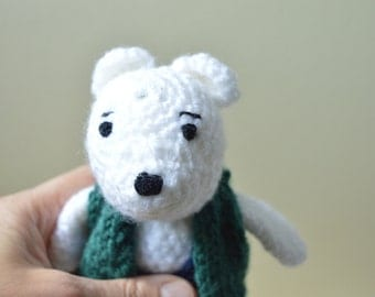 Crochet teddy bear, white bear toy, amigurumi doll