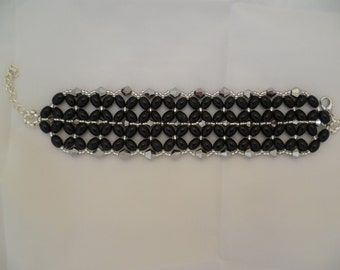 Black/Sliver Diamond Bracelet with extension chain