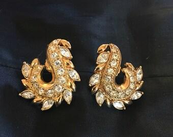 Earrings, pierced, rhinstone, Avon, art deco style, FREE SHIPPING
