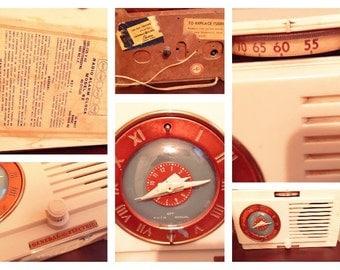 Vintage General Electric, 1940's  tube radio,  Art Deco, GE, retro,  antique, bakelite , restoration, broadcast, mid century modern.