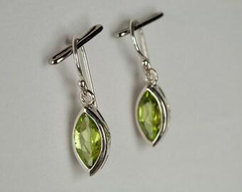 B001-005-001 Handmade Sterling Silver Hoop Earrings Green Peridot August Birthstone