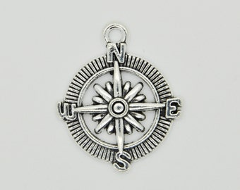 Silver Compass Charm Necklace, Compass Pendant, Silver Compass Charm Pendant