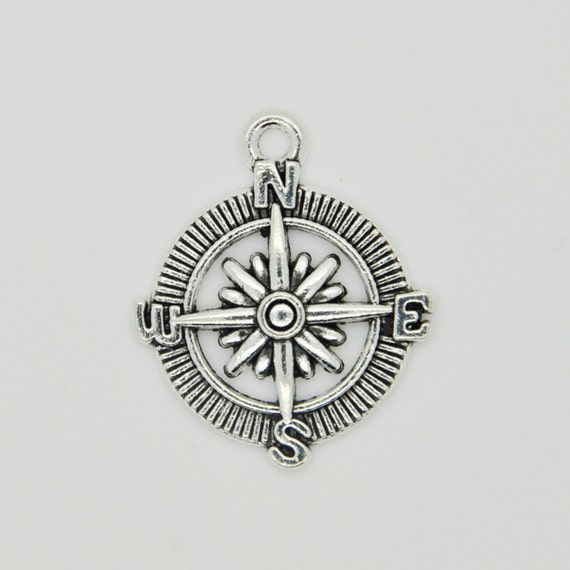 silver compass charm necklace compass pendant silver compass