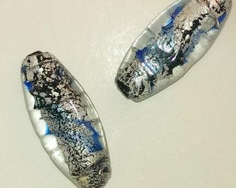 Foiled Oblong Glass Beads - Blue