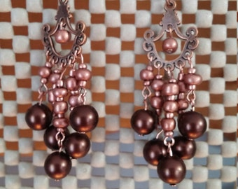 Copper, vintage looking earrings.