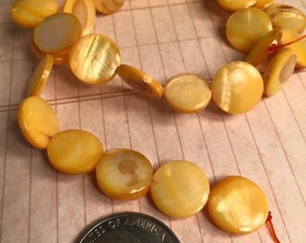 FOUR strands bright Sunshine Yellow mother of pearl 11mm beads