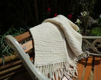 Handspun hand woven lap blanket / throw / rug using natural Lleyn wool with a touch of sari silk thread