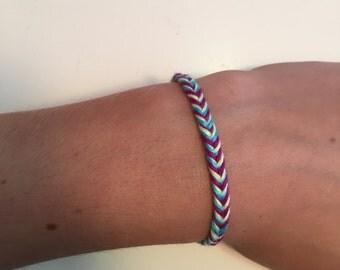 Purple, Blue, and Yellow Fishtail Friendship Bracelet