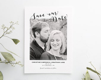 Printed Save the Date cards, elegant wedding, printed set, black and white