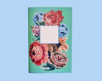 Embroidered Flowers: light teal front cover/dark green back cover