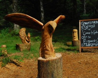 Chainsaw Carved Hawk with Wings