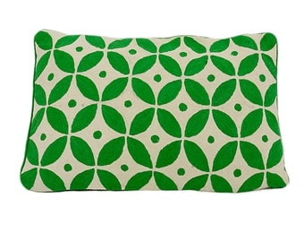 Hand embroidered kashmir wool cushion cover - Evergreen 40cm x 60cm