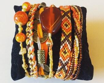 Brazilian case orange and Brown Cuff Bracelet