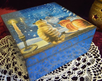 """Wooden box """"Winter evening"""", container, wooden jewelry box, gift box, Wooden money box, decoupage."""