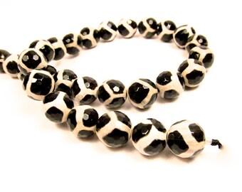 Agate Beads, Faceted Giraffe Agate Beads, Gemstone Beads, 14mm Tibetan Agate Beads, Agate Gemstone Beads GS-2