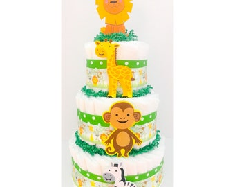 Diaper Cake - Neutral Diaper Cake - Jungle Diaper Cake - Jungle Baby Shower - Jungle Centerpieces - Baby Shower Centerpiece
