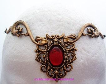 Dark Fantasy Thrones Gold Garnet Dragons circlet crown headdress adjutable fits men and women larp ren sca