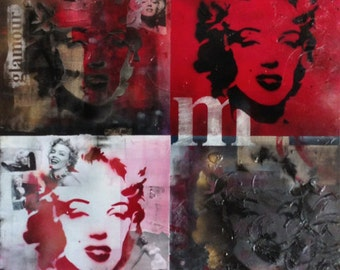 The Fame and Faces of Marilyn. Mixed media artwork.