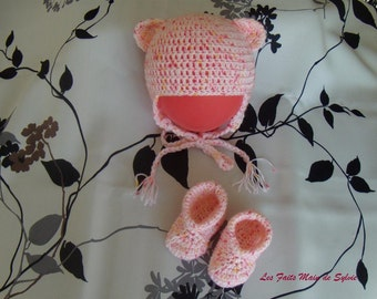 Set Hat booties Pink for baby 0/3 months to hook