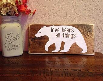 Love bears all things   handpainted sign   woodland nursery art   nursery decor   bear decor